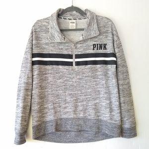 PINK VS • heathered gray striped 1/4 zip jacket